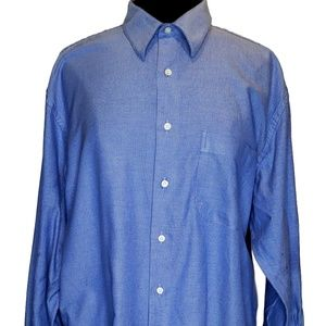 Barneys New York XL Mens Blue Oxford Button Front